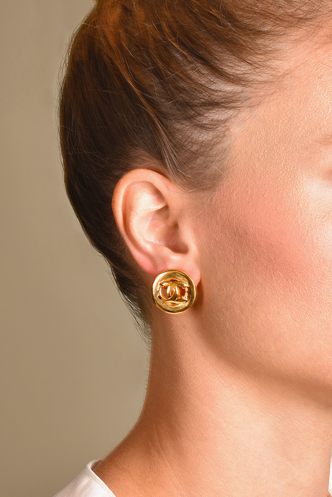 Chanel - Medium Gold CC Logo Clip On Earrings