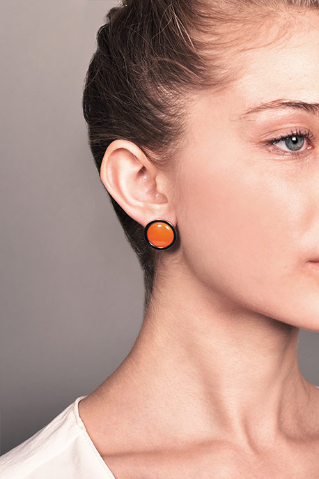 Hermes - Simple Orange Clip-On Earrings