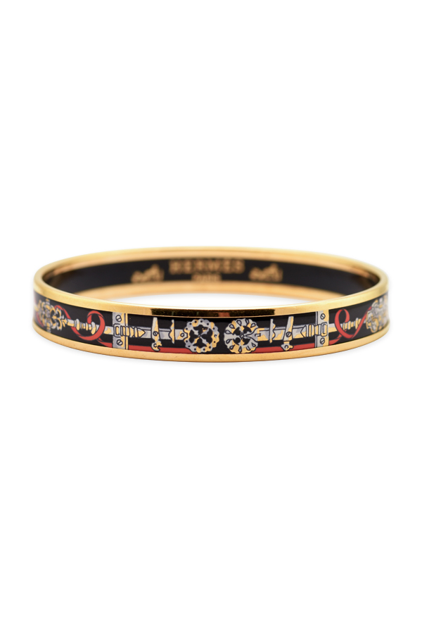 Hermes - Narrow Enamel Bangle (Black/Gold/Buckle and Red Ribbon Detail)