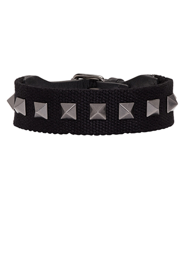 Valentino - Dark Blue Textile and Leather Rockstud Bracelet View 1