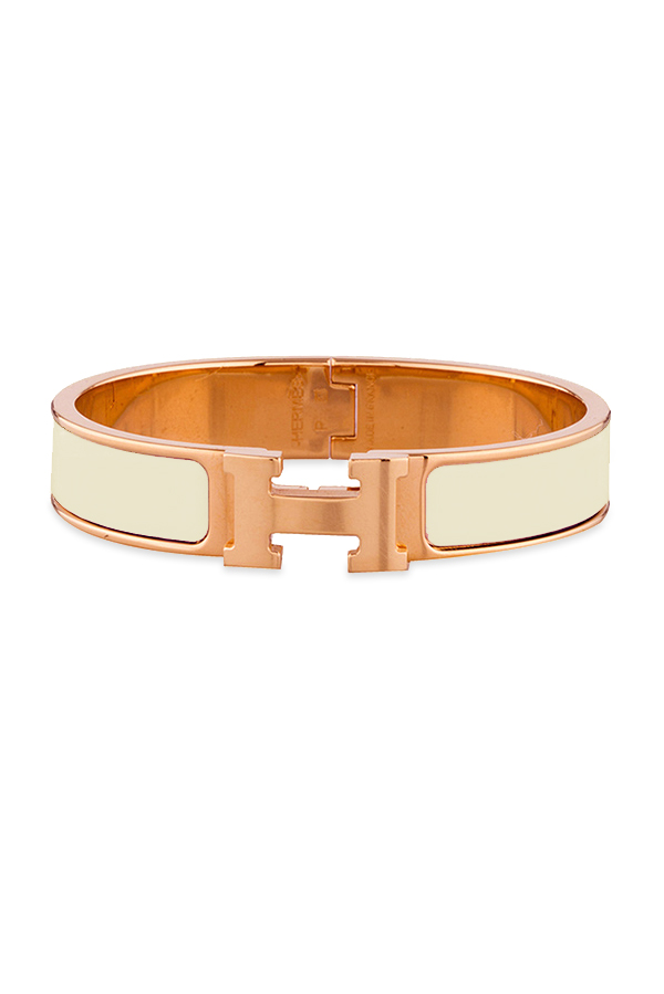 Hermes - Narrow Clic H Bracelet (Off White/Rose Gold Plated) - PM