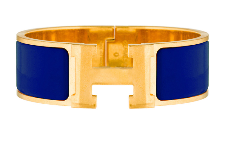 Hermes - Wide Clic H Bracelet (Electric Blue/Yellow Gold Plated) - PM
