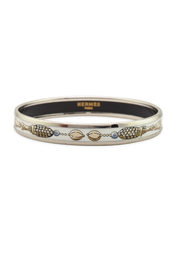 Hermes - Narrow Enamel Bangle (Silver/White/Beaded Cream Detail)