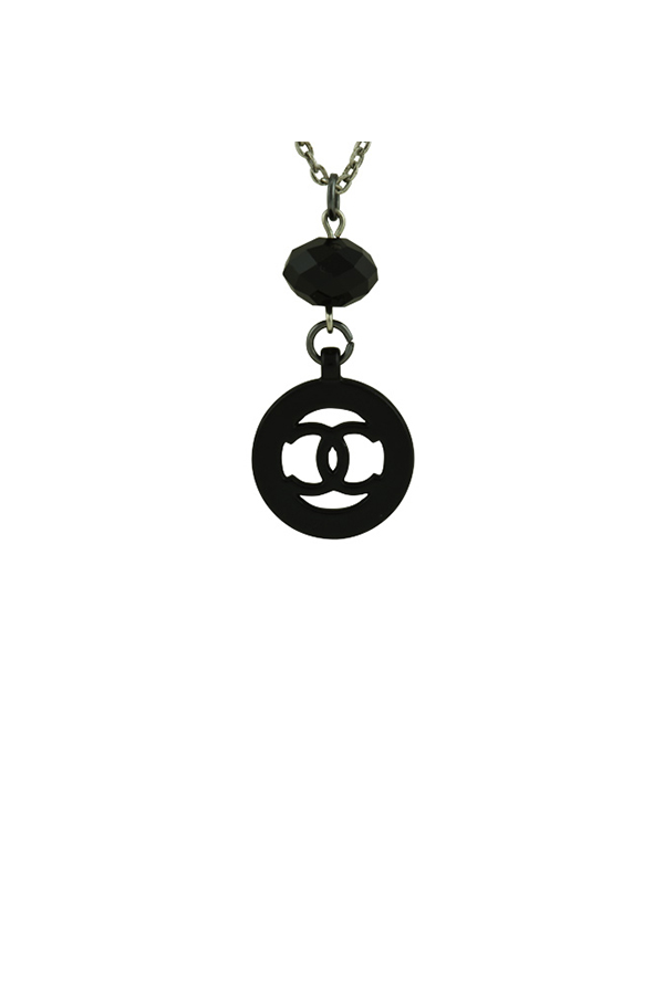 Chanel - Black Circular Cut Out CC Logo Pendant Necklace View 1