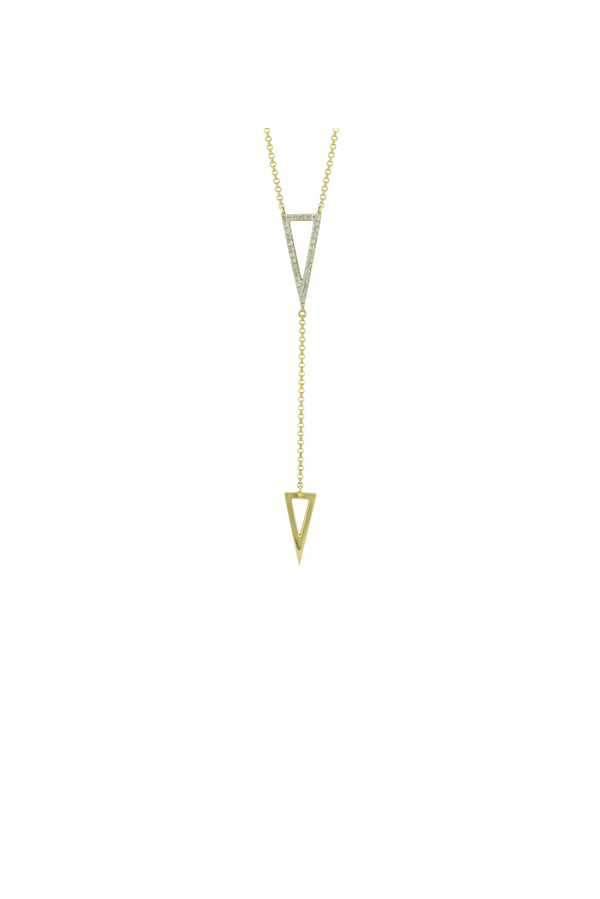 Yu  - Double Triangle Lariat Necklace (14k Yellow Gold)