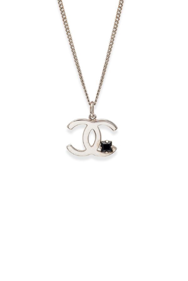 Chanel - Vintage Silver CC logo With Black Rhinestone Pendant Necklace