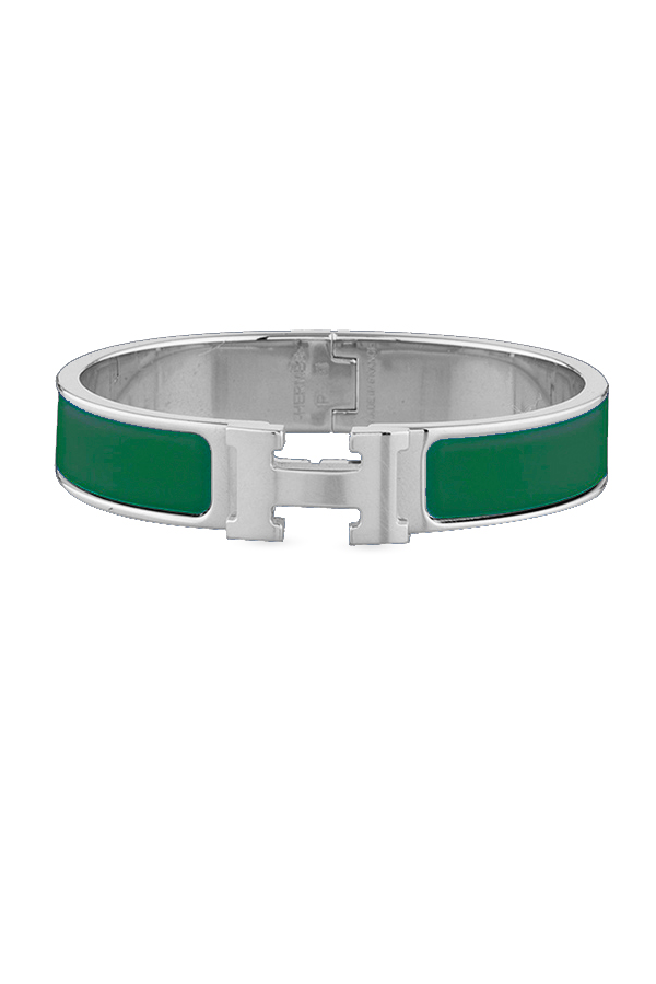 Hermes - Narrow Clic H Bracelet  Green Moderne Palladium Plated    PM View 2