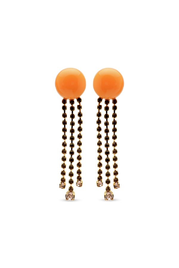 Marni - Resin and Crystal Drop Earrings  Orange  View 1