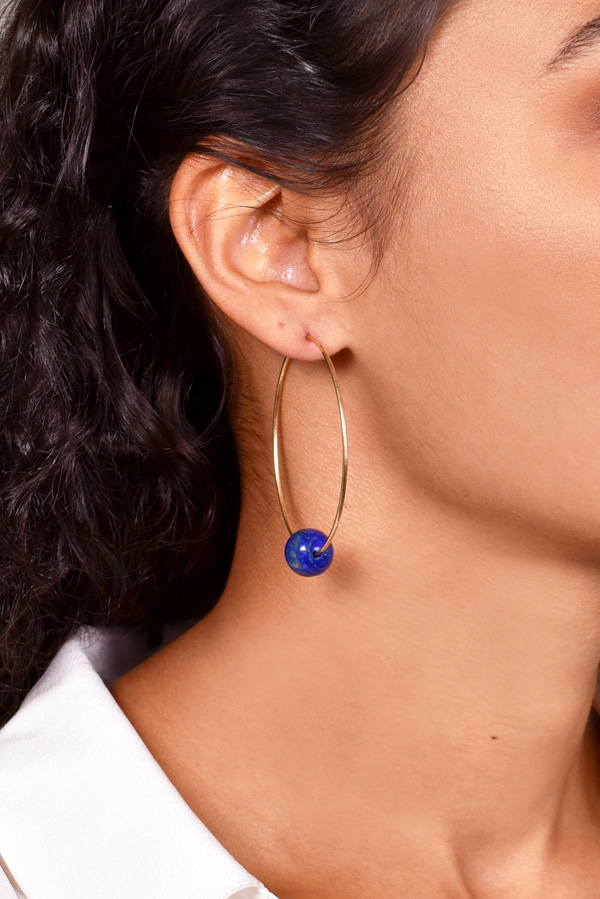 Chains and Pearls - Lapis Lazuli Hoop Earrings (14k Yellow Gold)