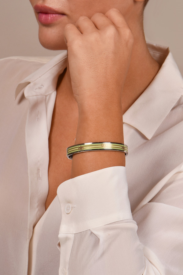 Hermes -  Narrow Enamel Bangle (Green Bows)