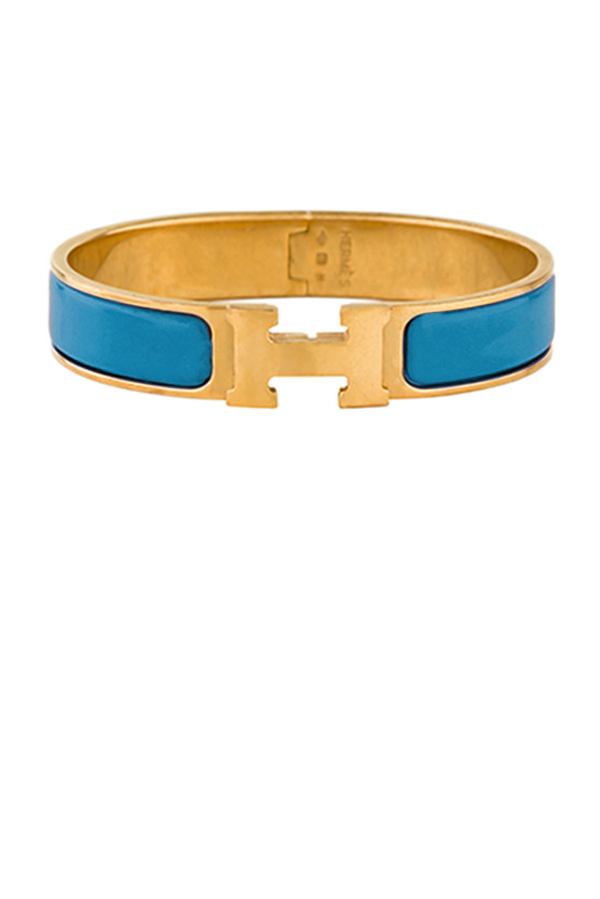 Hermes - Narrow Clic H Bracelet (Sky Blue/Yellow Gold Plated) - PM