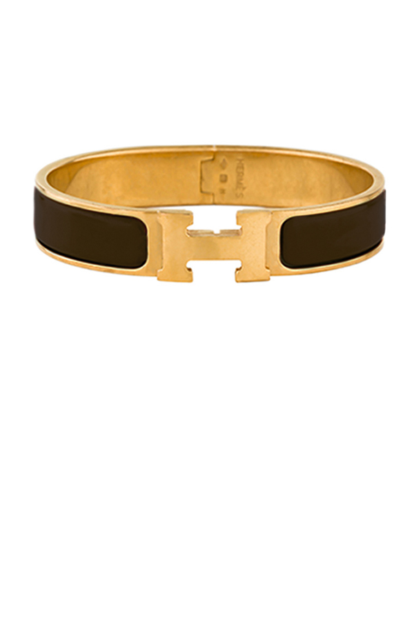 Hermes - Narrow Clic H Bracelet (Dark Brown/Yellow Gold Plated) - GM
