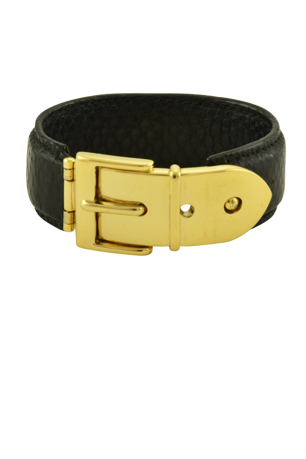 Gucci - Vintage Wide Buckle Bracelet (Dotted Black) View 1