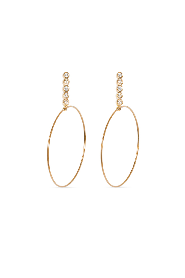 Sophie Ratner - Large Five Diamond Drop Hoops