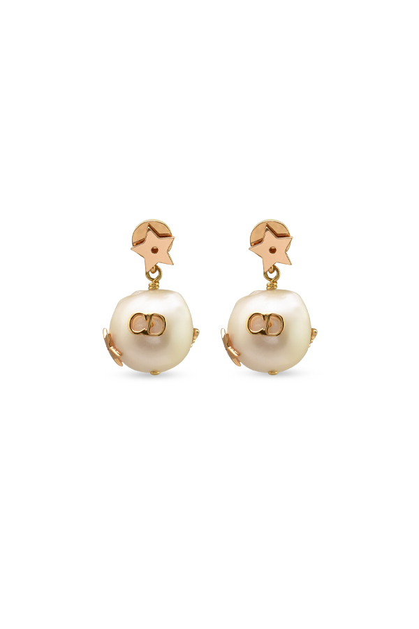 Christian Dior - CD Faux Baroque Pearl Gold Dangle Earrings