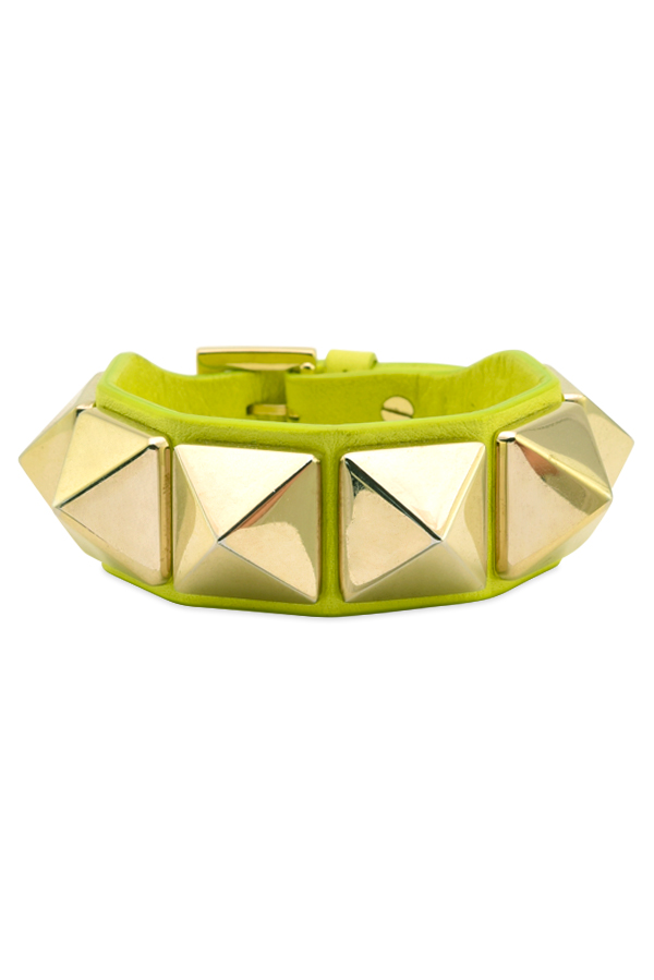 Valentino - Macro Leather Rockstud Bracelet  Lime Green  View 2