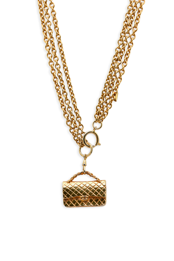 Chanel - Large Quilted Bag Charm Pendant Necklace on Double Link Chain
