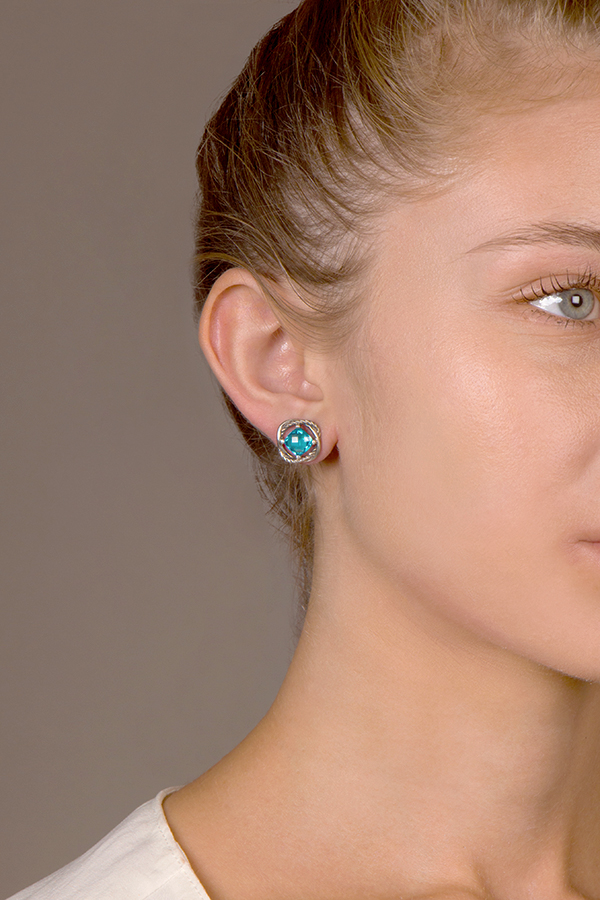 David Yurman - Infinity Stud Earrings (Blue Topaz)