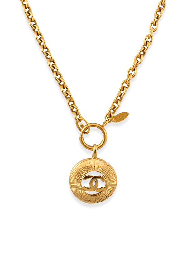 Chanel - Vintage  CC Logo Cut Out Pendant Necklace
