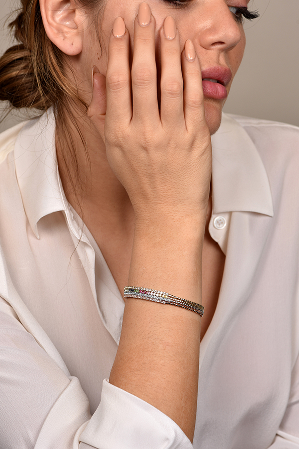 Do Not Disturb - The Toulouse Tennis Bracelet (14k R. Gold & White Topaz) - S