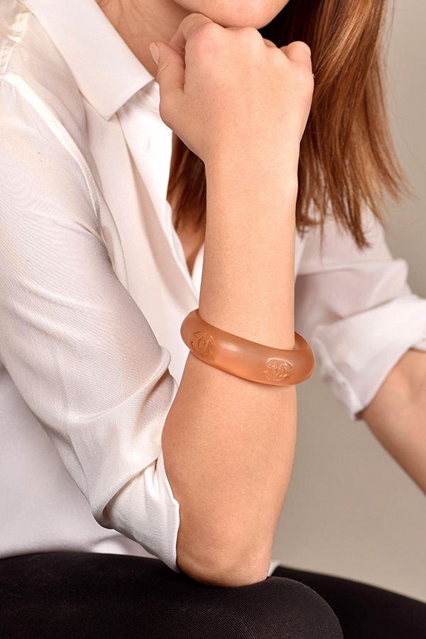 Chanel - Orange Lucite Bangle