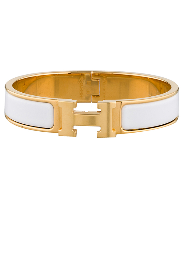 Hermes - Narrow Clic H Bracelet (White/Yellow Gold Plated)