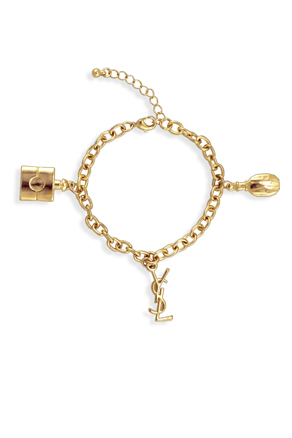 Yves Saint Laurent - Vintage Logo And Perfume Chain Bracelet