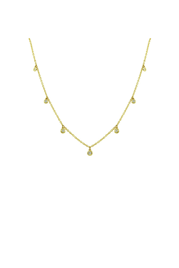 Switch - Station Necklace and Bezel Set Diamonds (18k Yellow Gold)