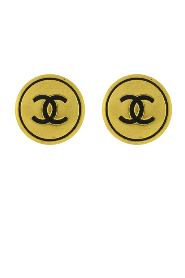 Chanel - Logo Round Clip-On Earrings (Gold)