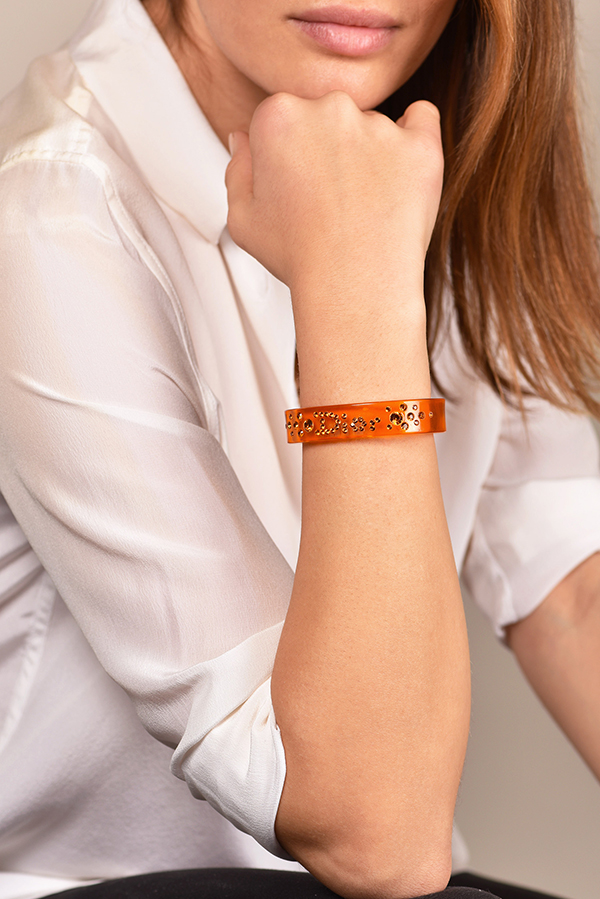 Christian Dior - Narrow Orange Lucite Cuff