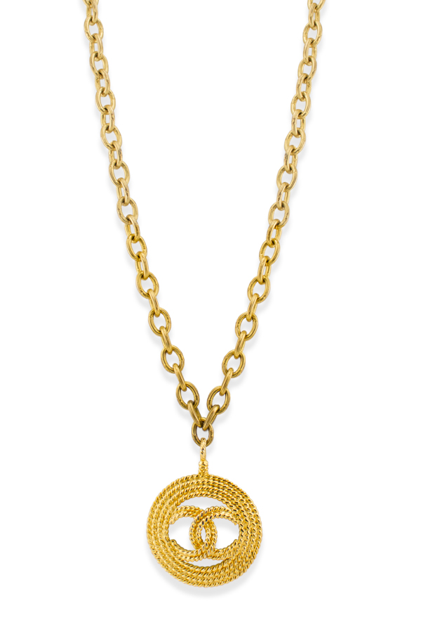 Chanel - Vintage Rope Textured CC Logo Cut Out Pendant Necklace