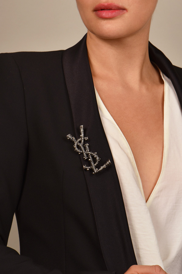 Yves Saint Laurent - YSL Logo Brooch  Silver  View 2