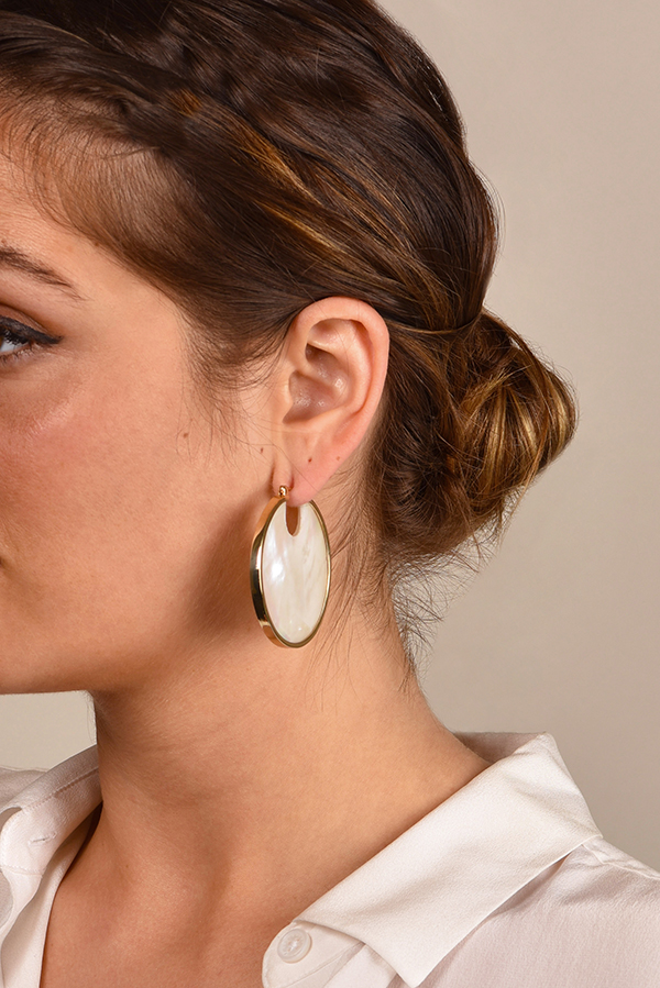 Studio Elke - Eclipse Hoop Earrings - Pearl