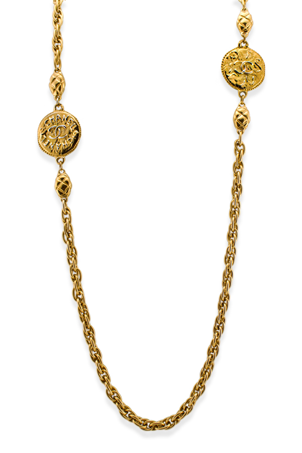 Chanel - Vintage Double Hammered Medallion Station Necklace