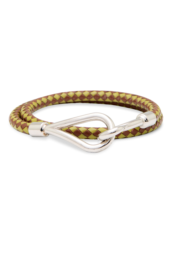 Hermes - 1991976040_Switch Jewelry Hermes Green and Brown Leather Check Wrap Bracelet jpg