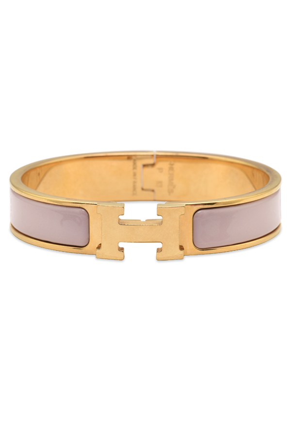 Hermes Narrow Clic H Bracelet (Rose Poudre/Yellow Gold Plated) - PM | Rent Hermes jewelry for ...