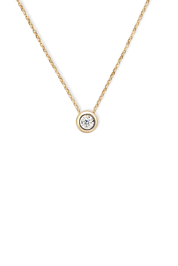 Yu  - Diamond Bezel Necklace (14k Yellow Gold)