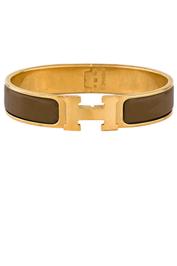 Hermes - Narrow Clic H Bracelet (Chestnut/Yellow Gold Plated) - GM