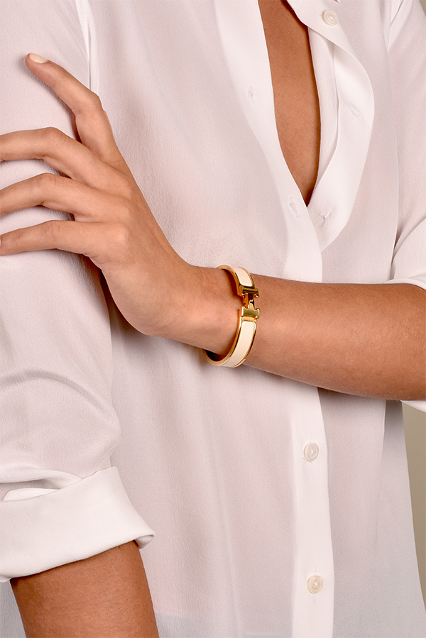 Hermes - Narrow Clic H Bracelet (Blanc/Yellow Gold Plated) - PM