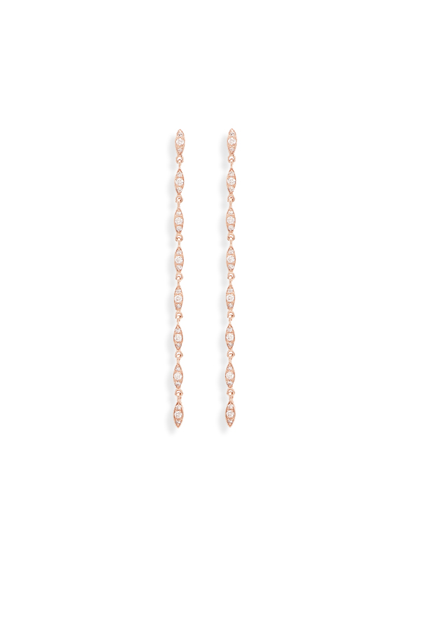 Yu  - Linked Dangle Diamond Earrings (14k Rose Gold)