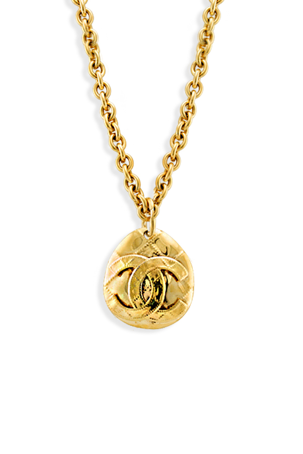 Chanel - Vintage Oval Quilted CC Logo Pendant Necklace
