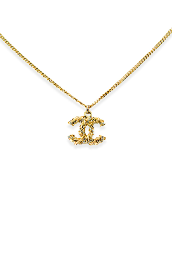 Chanel - Vintage Rope Textured CC Logo With Rhinestones Pendant Necklace
