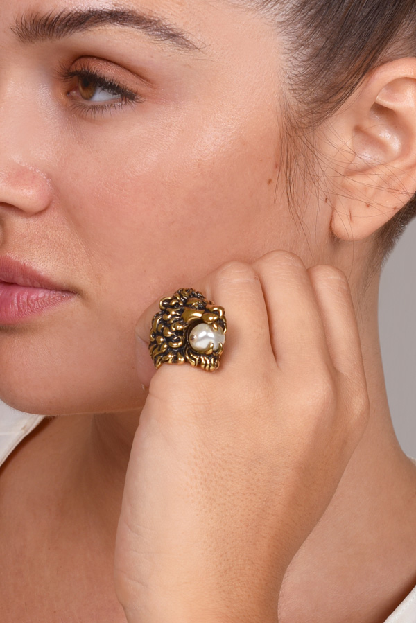 Gucci Lion Head Ring With Faux Pearl Size 5 Rent Gucci Jewelry