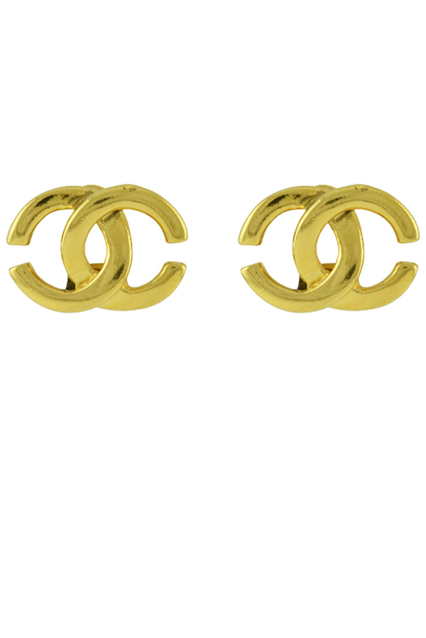 Chanel - Gold CC Logo Clip On Earrings View 1