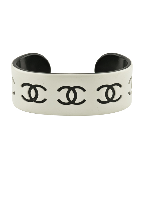 Chanel - White Resin Logo Cuff - Large