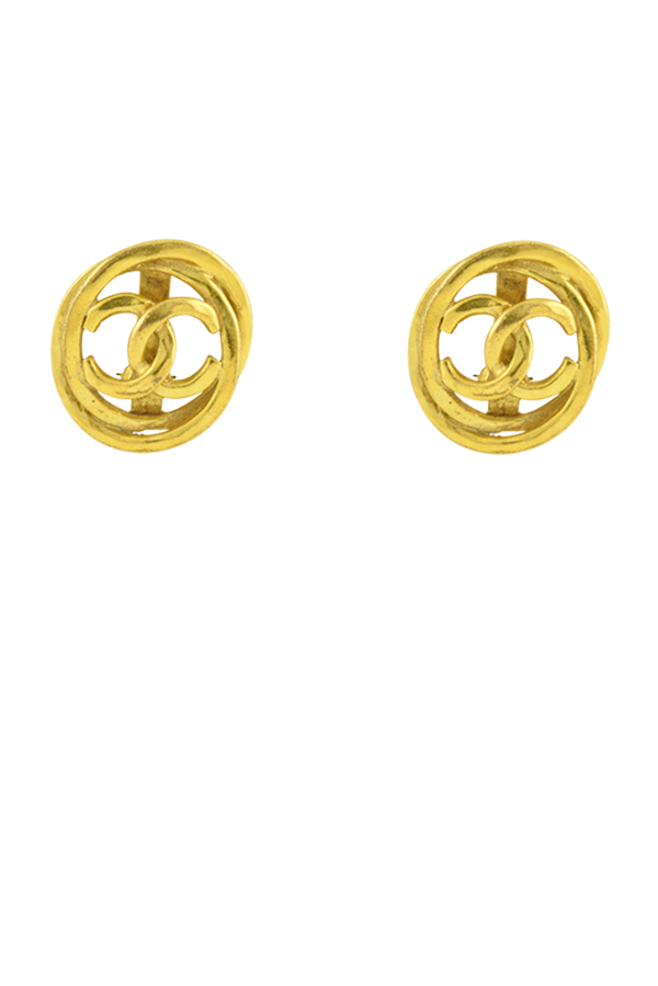 Chanel - Vintage Hammered Logo Cut Out Clip On Earrings