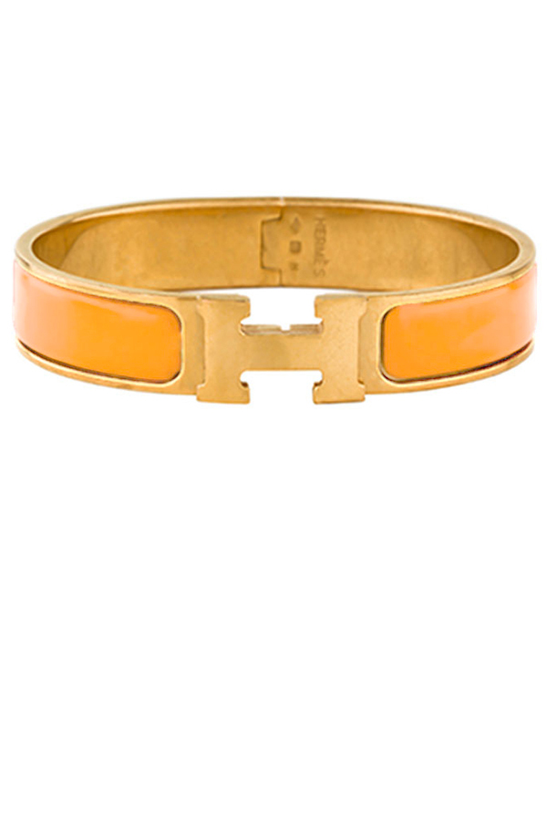 Hermes - Narrow Clic H Bracelet (Tangerine/Yellow Gold Plated) - PM