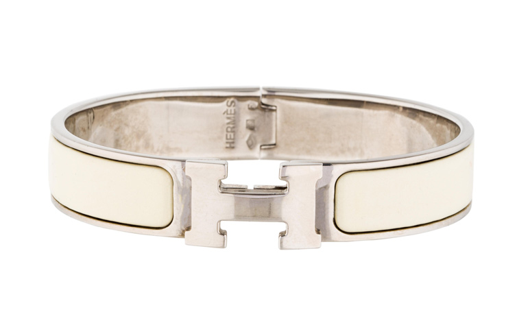 Hermes - Narrow Clic H Bracelet  Off White Palladium Plated    PM View 1