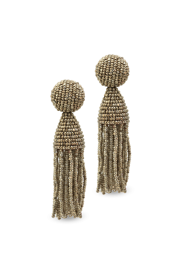 Oscar De La Renta - Gold Short Beaded Tassel Earrings