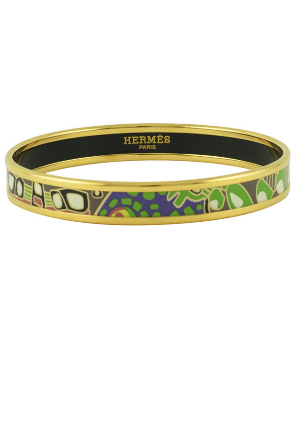 Hermes - Narrow Green Enamel Bracelet  Mastic  View 1